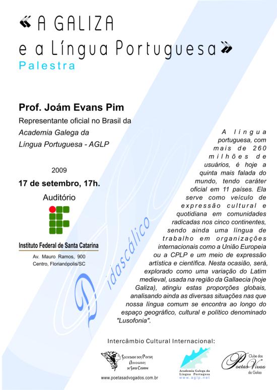 Cartaz da palestra «A Galiza e a Língua Portuguesa»