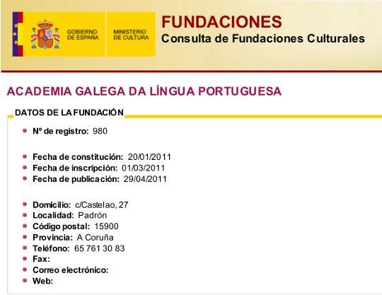 Registo Fundações Culturais do Ministério da Cultura da Espanha