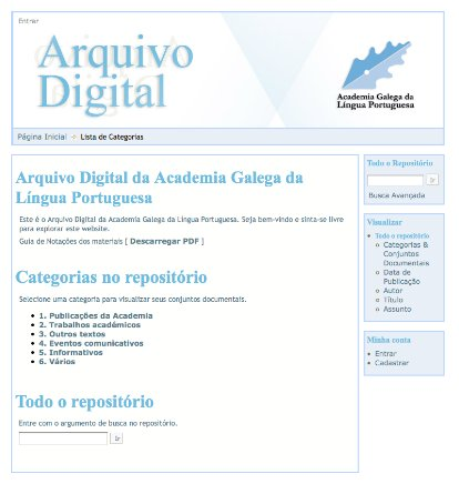 Capa do site do Arquivo Digital da AGLP