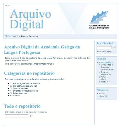Capa do site do Arquivo Digital da AGLP